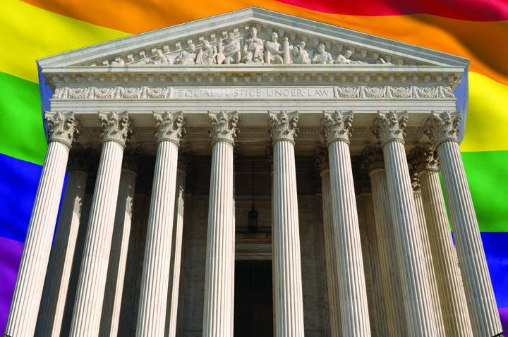 US Supreme Court with Rainbow